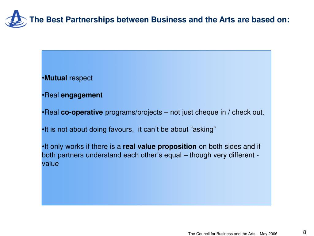 The Best Partnerships between Business and the Arts are based on: