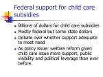 federal support for child care subsidies