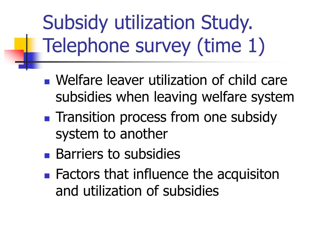 Subsidy utilization Study.  Telephone survey (time 1)