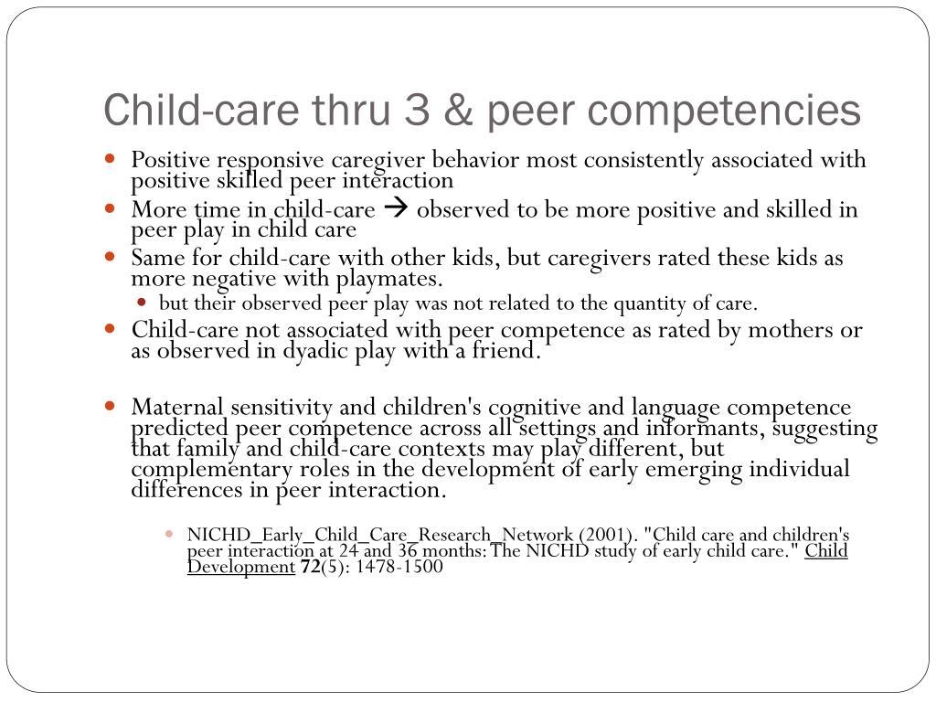 Child-care thru 3 & peer competencies