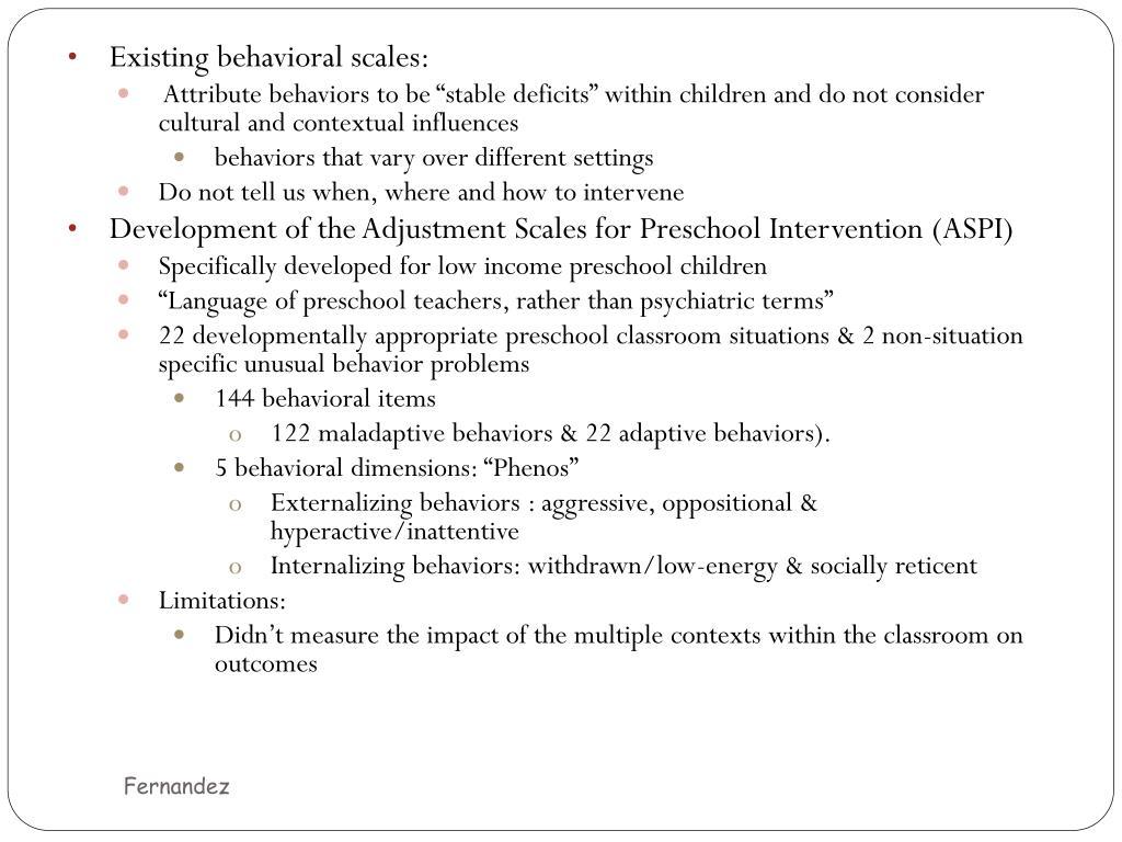 Existing behavioral scales:
