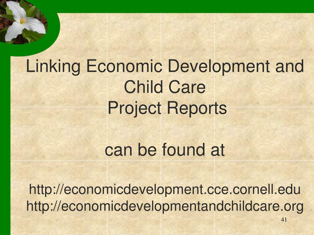 Linking Economic Development and Child Care