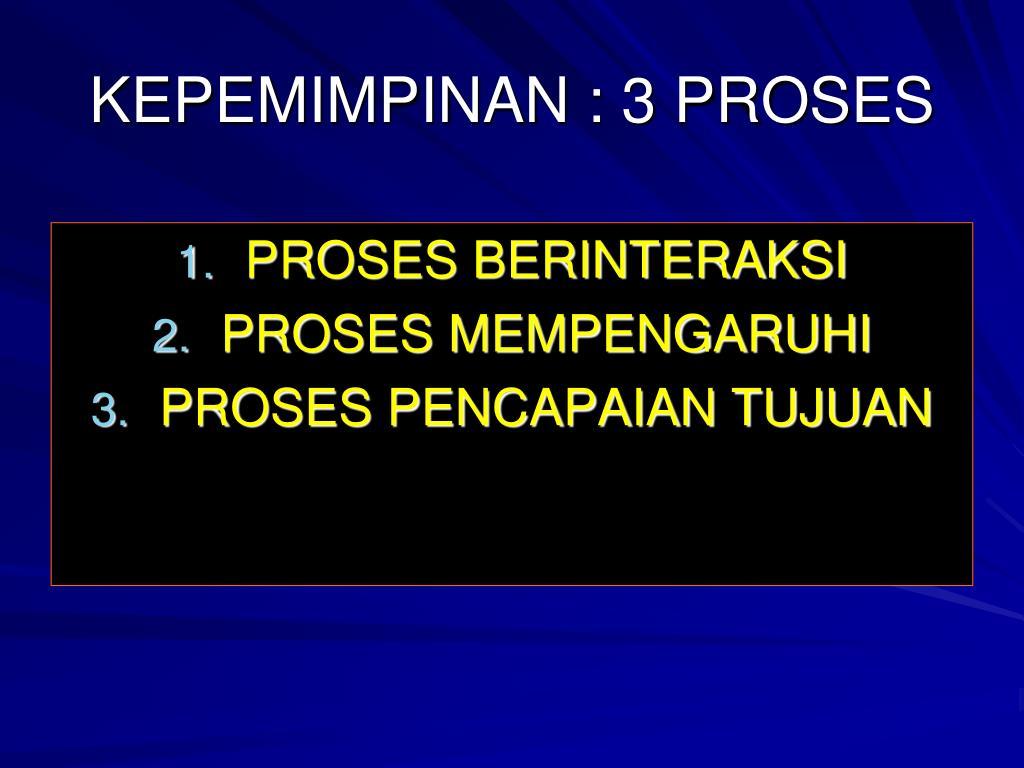 KEPEMIMPINAN : 3 PROSES