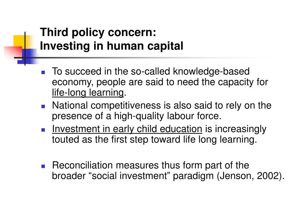 Third policy concern: