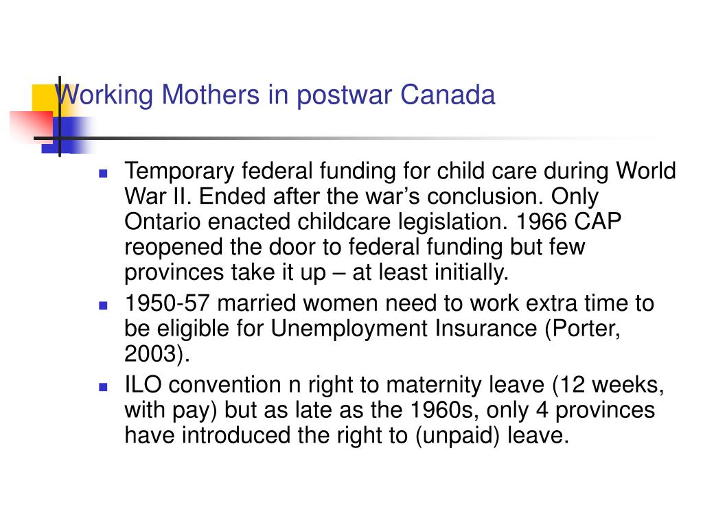 Working Mothers in postwar Canada
