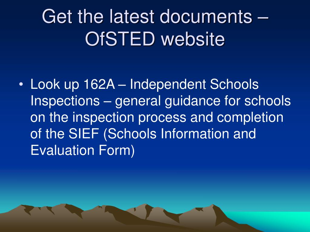 Get the latest documents – OfSTED website