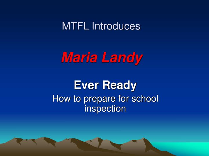 Mtfl introduces maria landy
