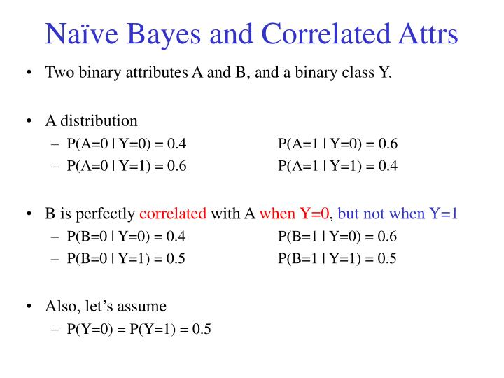 Na ve bayes and correlated attrs