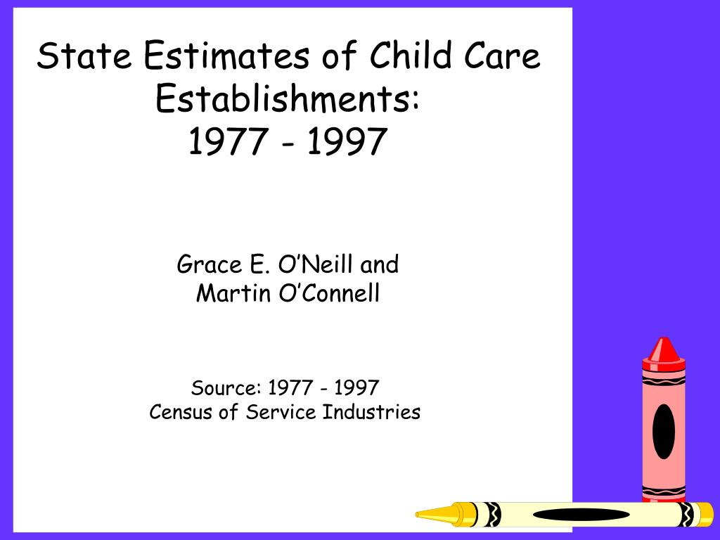 State Estimates of Child Care Establishments:                  1977 - 1997