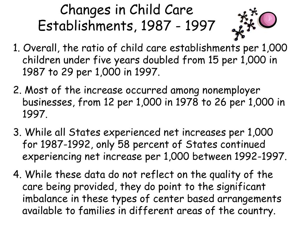 Changes in Child Care Establishments, 1987 - 1997