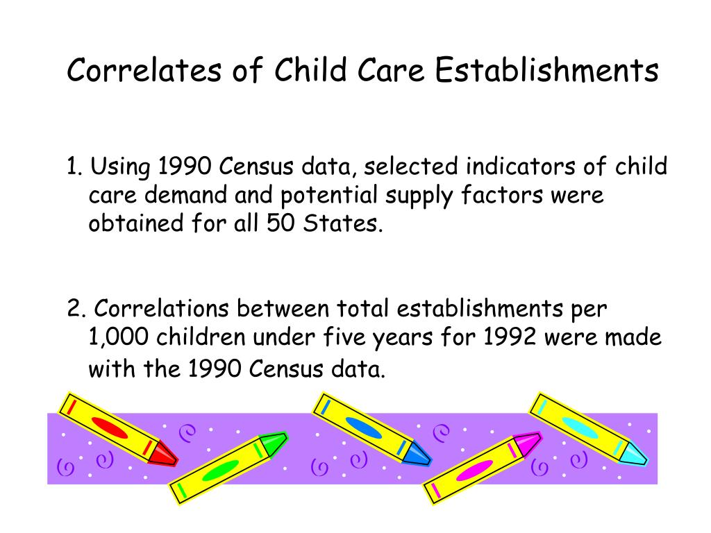 Correlates of Child Care Establishments