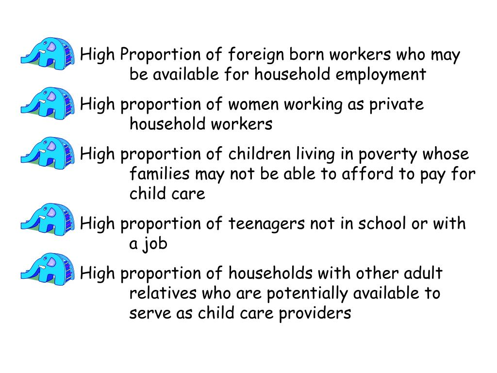 High Proportion of foreign born workers who may 		be available for household employment