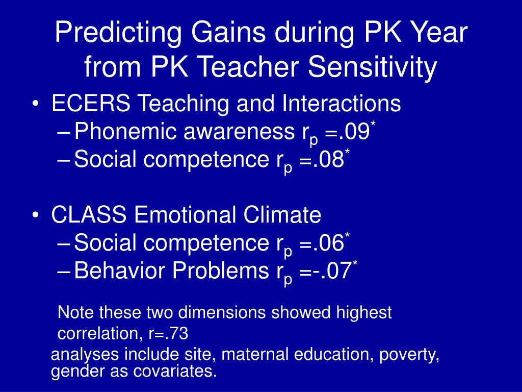 Predicting Gains during PK Year from PK Teacher Sensitivity