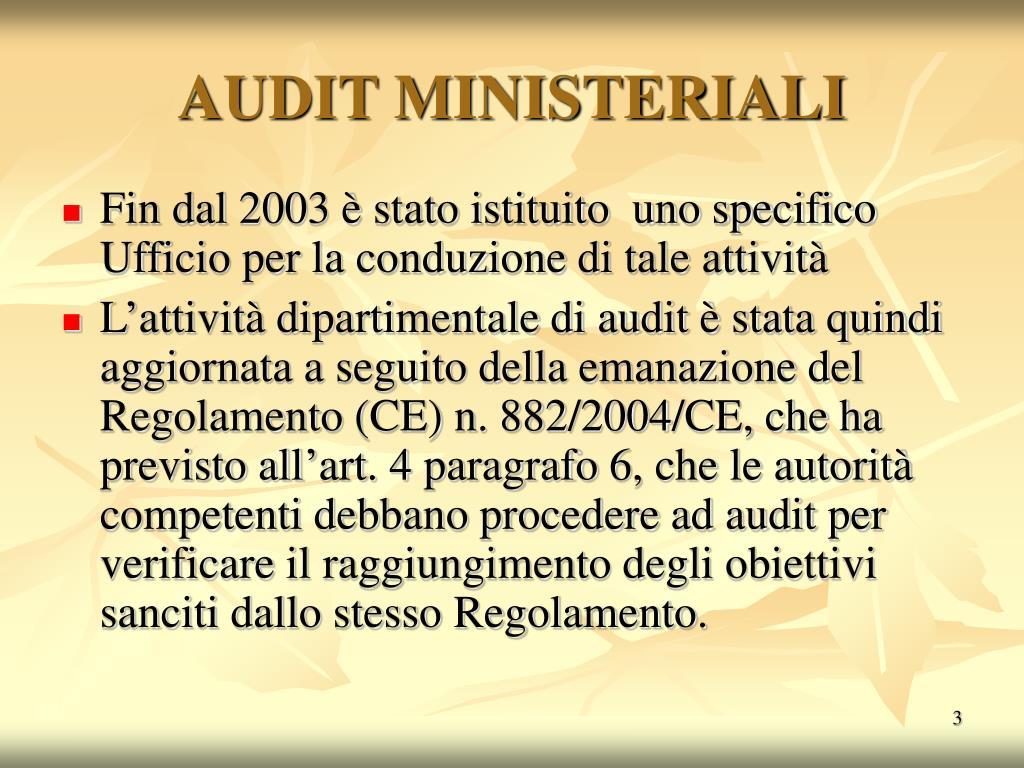 AUDIT MINISTERIALI
