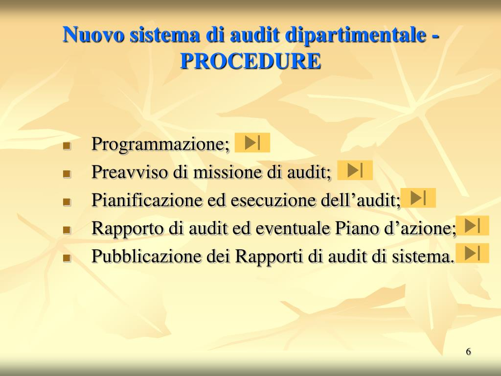 Nuovo sistema di audit dipartimentale - PROCEDURE