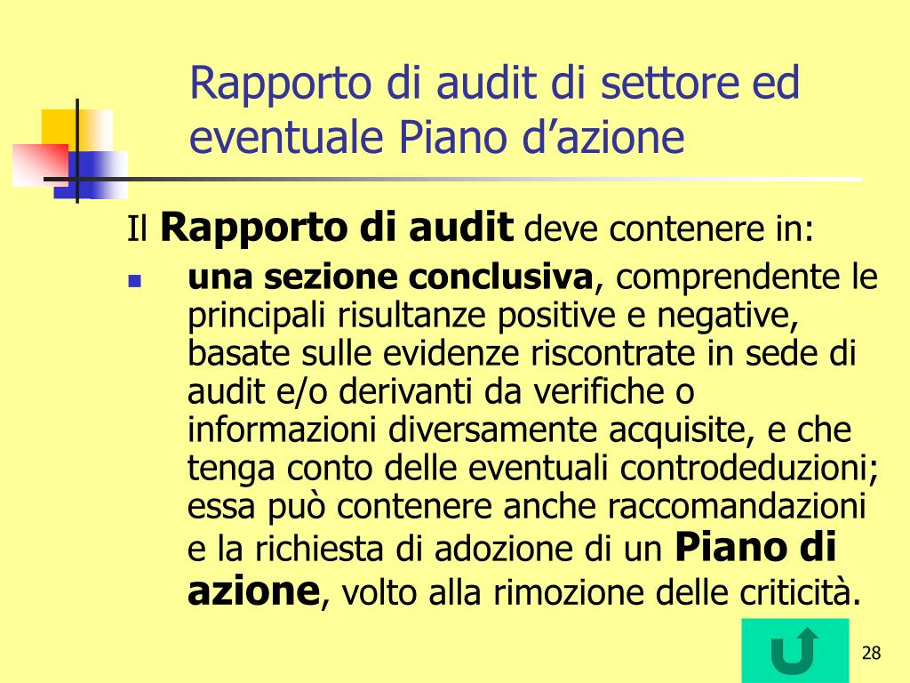 Rapporto di audit di settore
