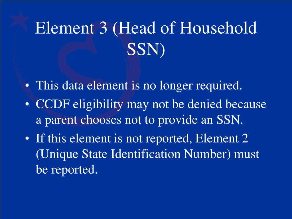 Element 3 (Head of Household SSN)