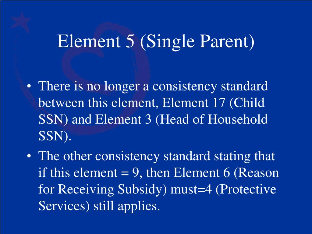 Element 5 (Single Parent)