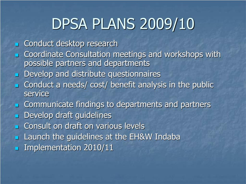DPSA PLANS 2009/10