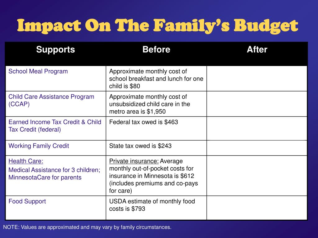 Impact On The Family's Budget