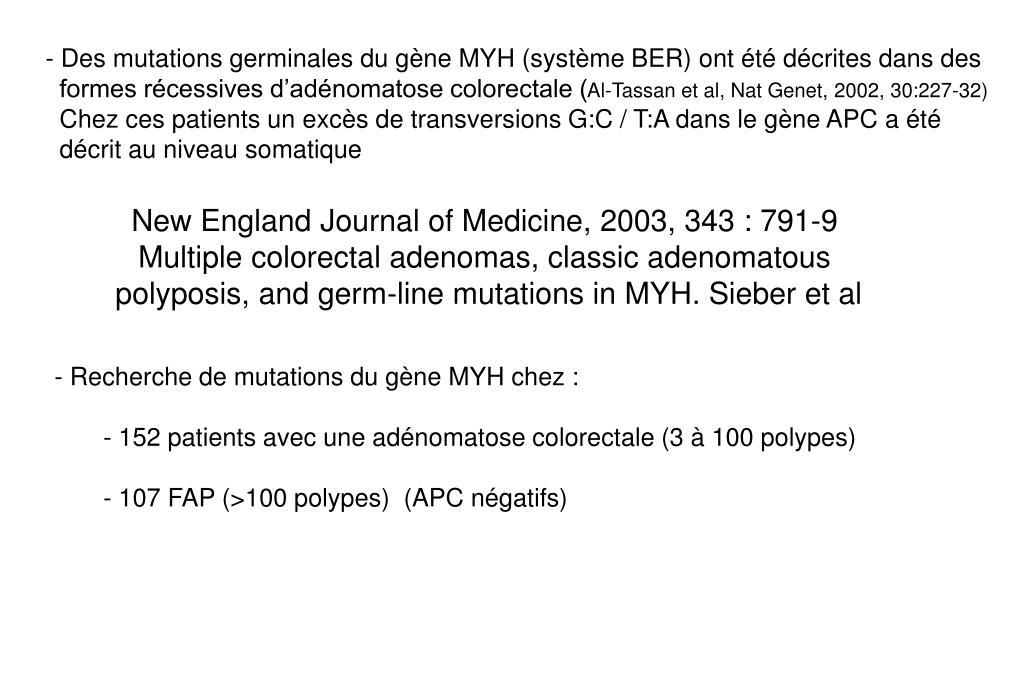 Des mutations germinales du gène MYH (système BER) ont été décrites dans des