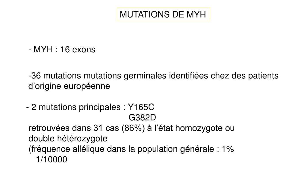 MUTATIONS DE MYH