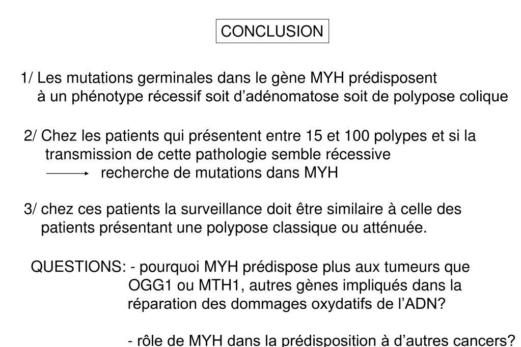 2/ Chez les patients qui présentent entre 15 et 100 polypes et si la