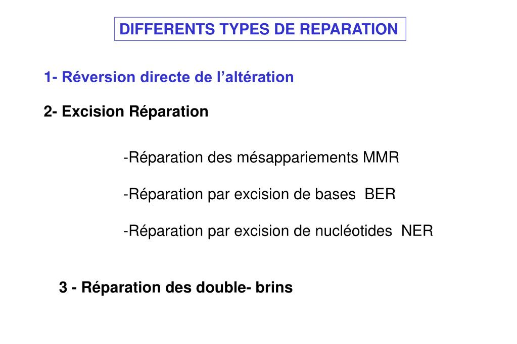 DIFFERENTS TYPES DE REPARATION