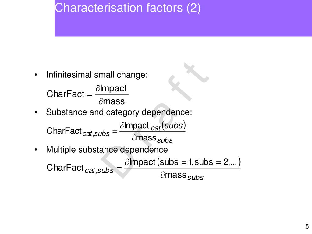 Characterisation factors (2)