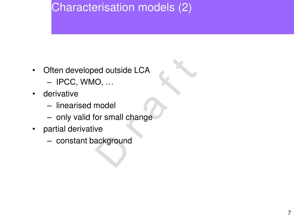 Characterisation models (2)