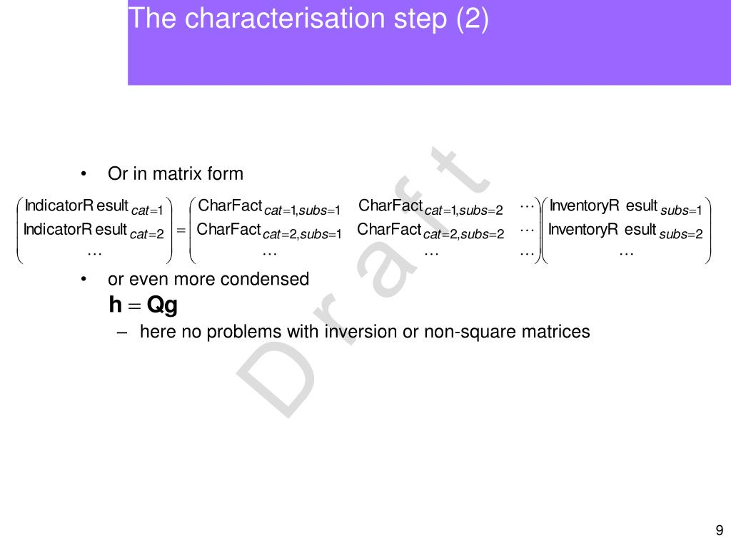 The characterisation step (2)