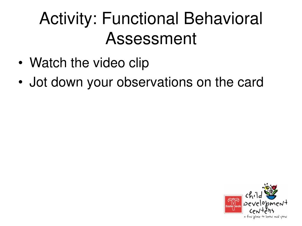Activity: Functional Behavioral Assessment
