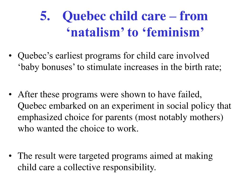 Quebec child care – from 'natalism' to 'feminism'