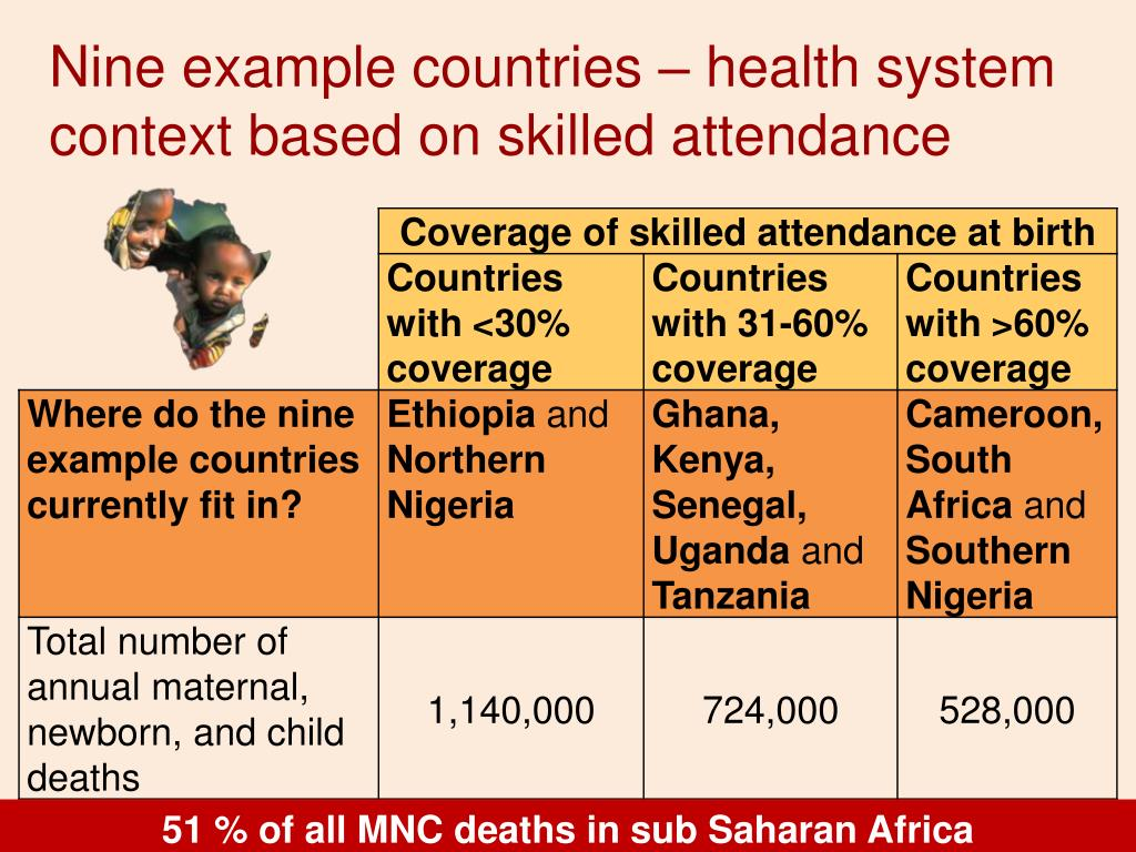 Nine example countries – health system context based on skilled attendance