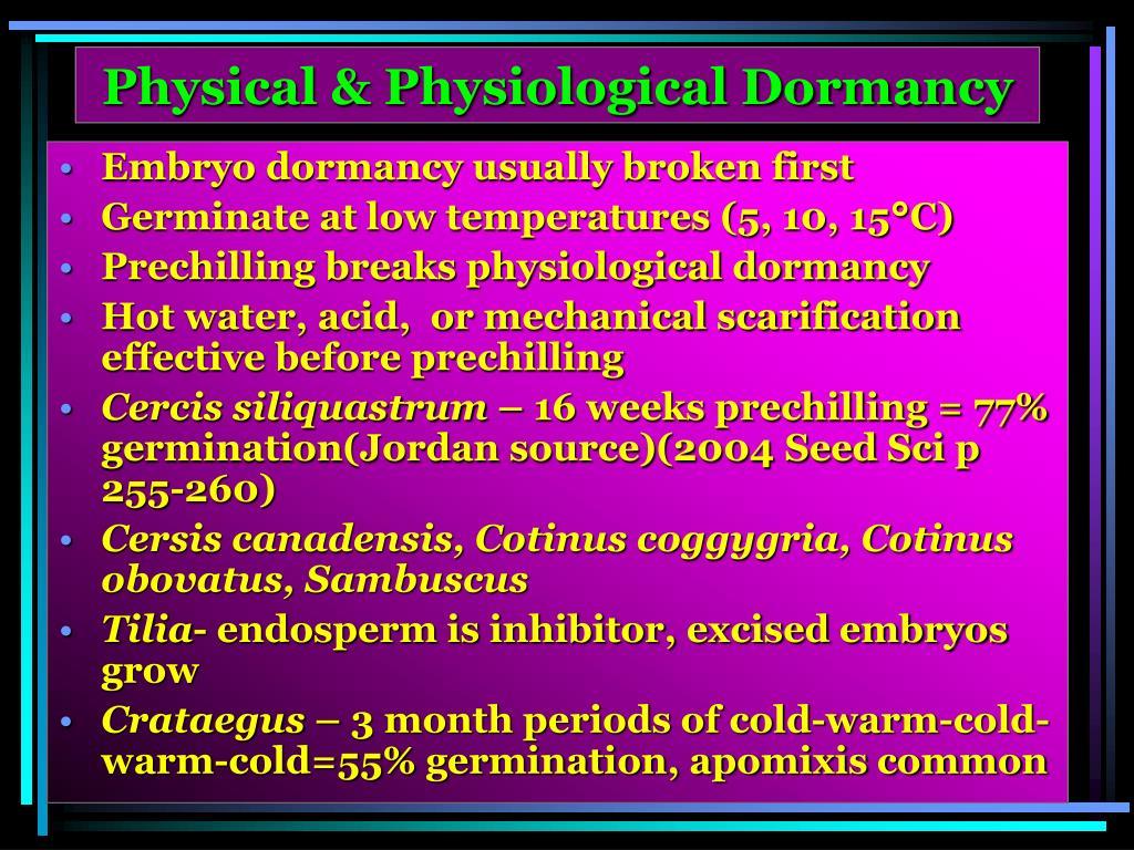Physical & Physiological Dormancy
