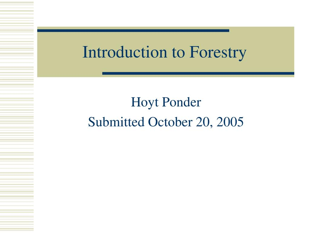 introduction to forestry