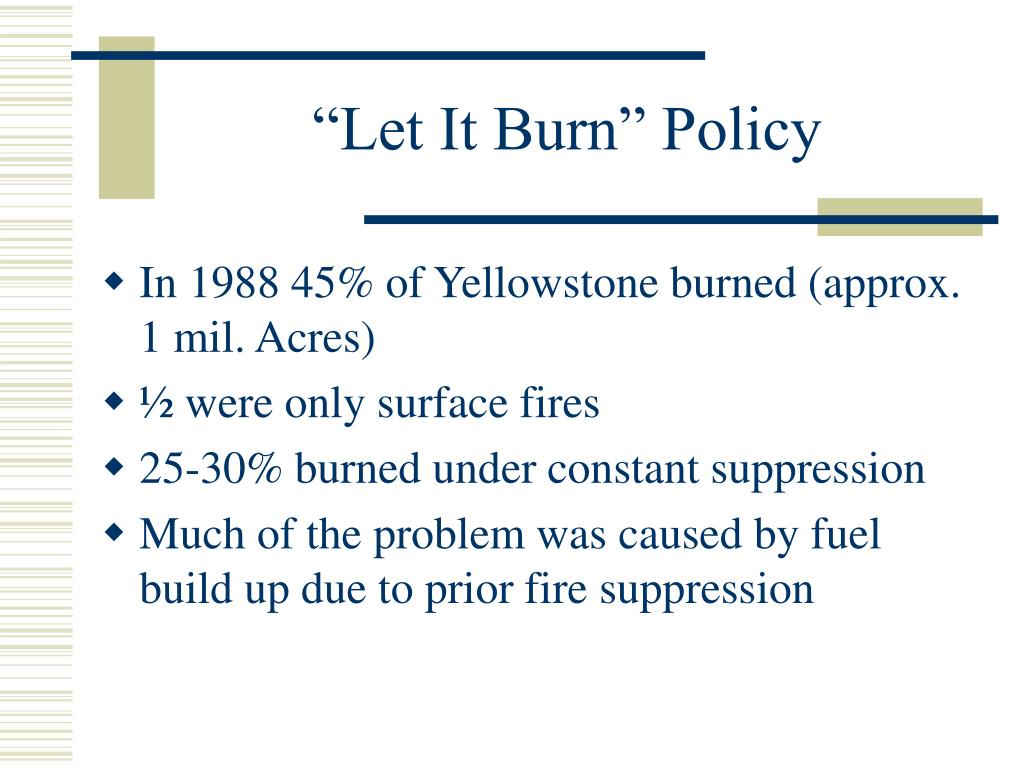 """""""Let It Burn"""" Policy"""