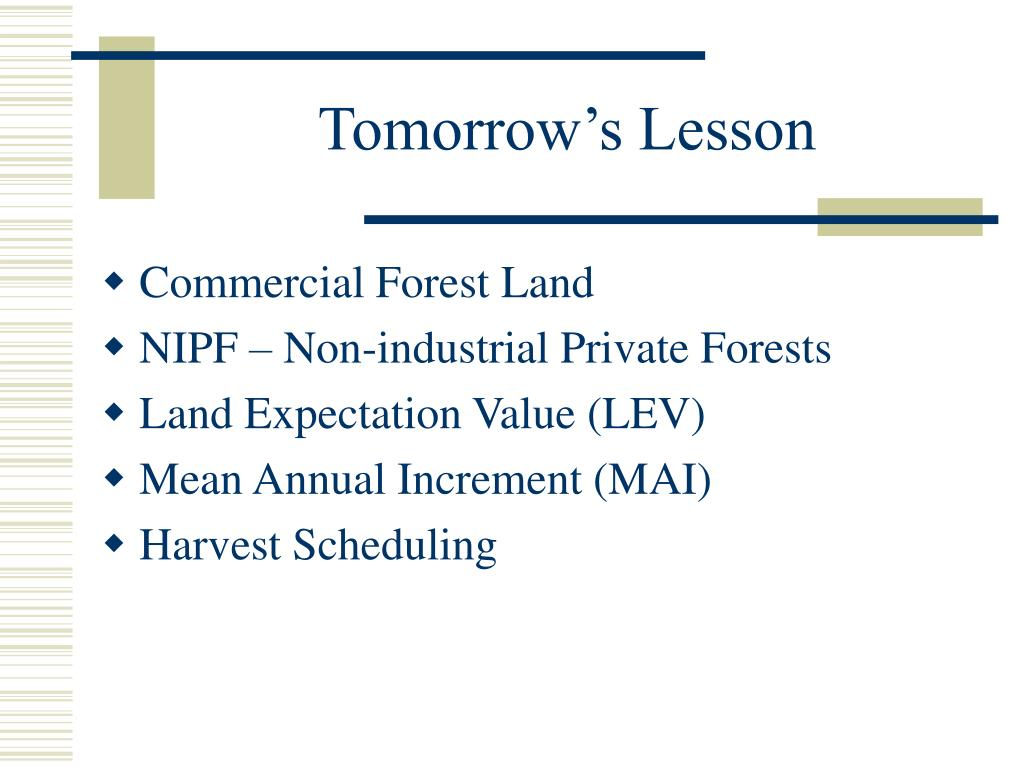 Tomorrow's Lesson