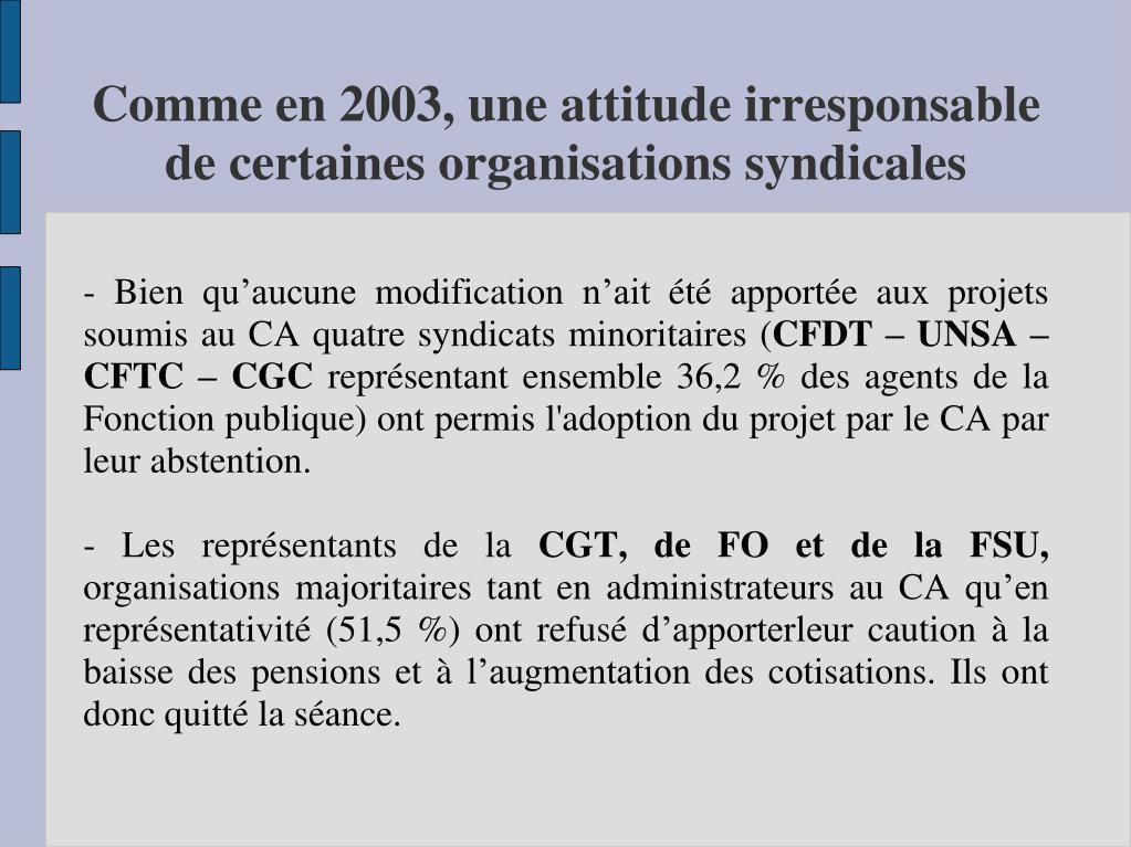 - Bien qu'aucune modification n'ait été apportée aux projets soumis au CA quatre syndicats minoritaires (