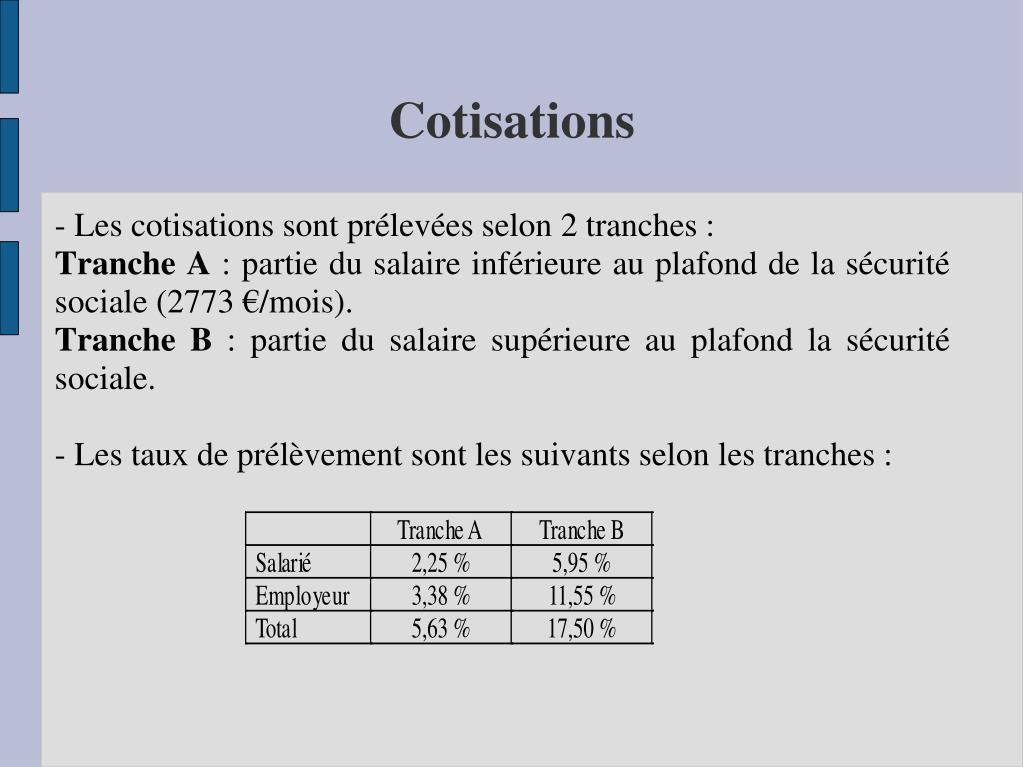 - Les cotisations sont prélevées selon 2 tranches: