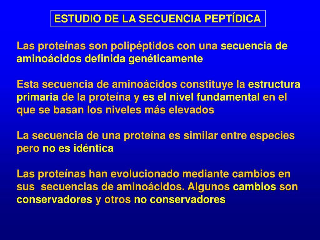ESTUDIO DE LA SECUENCIA PEPTÍDICA