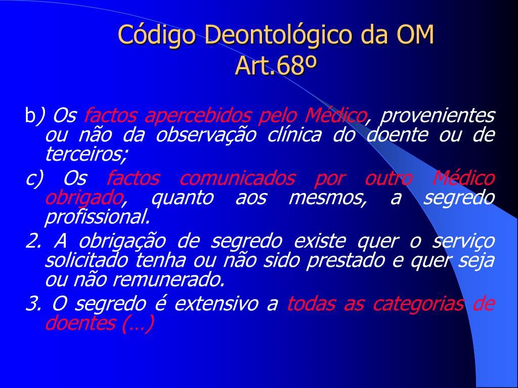 Código Deontológico da OM