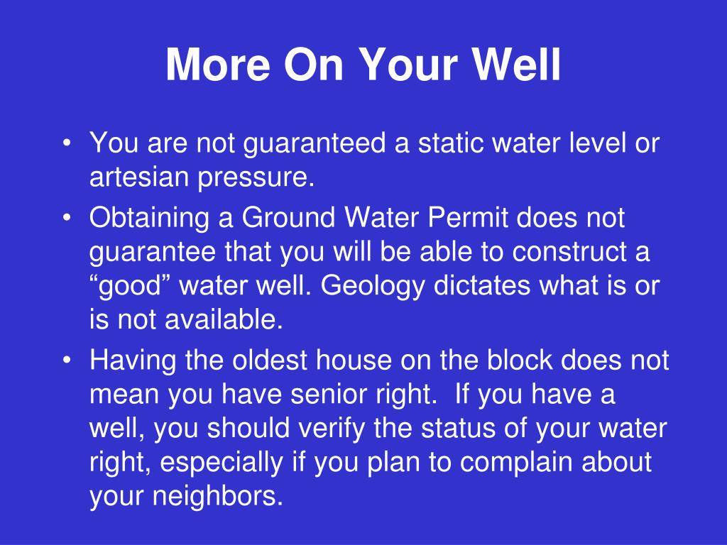 More On Your Well