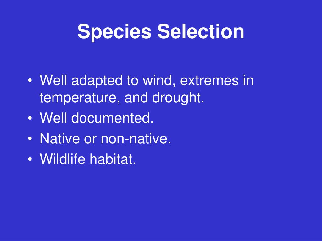 Species Selection