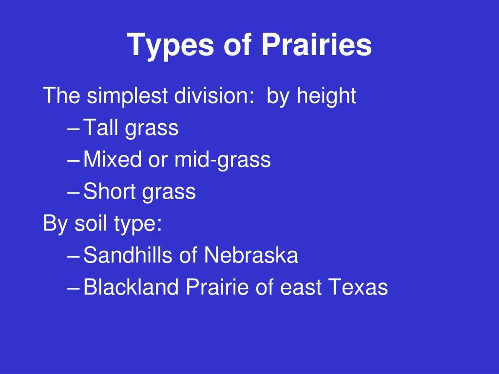 Types of Prairies