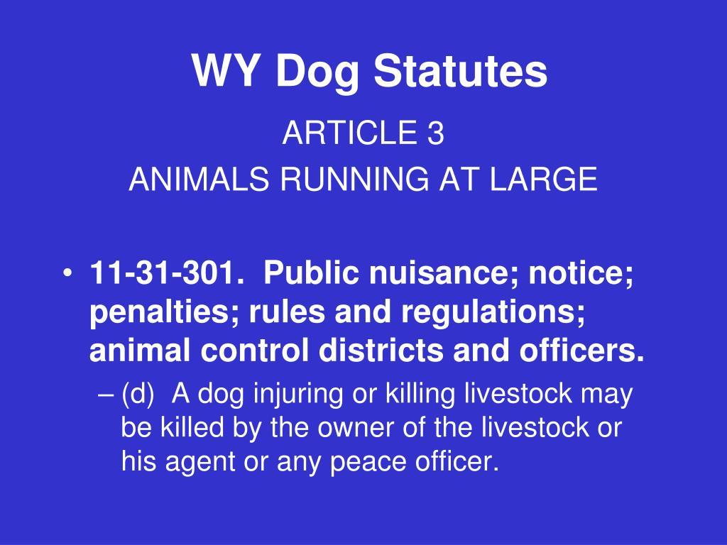 WY Dog Statutes