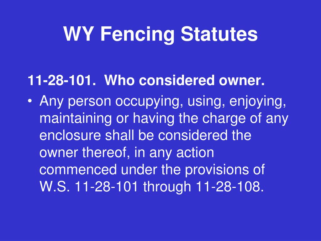 WY Fencing Statutes