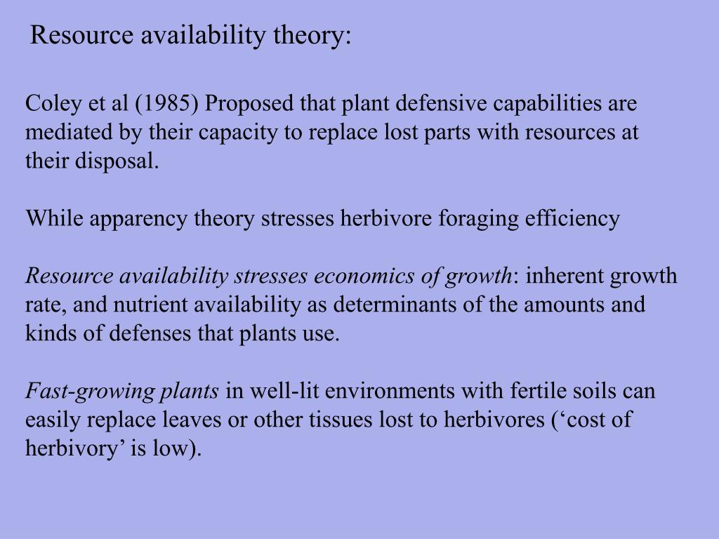 Resource availability theory: