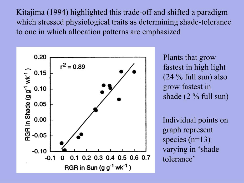 Kitajima (1994) highlighted this trade-off and shifted a paradigm which stressed physiological traits as determining shade-tolerance to one in which allocation patterns are emphasized