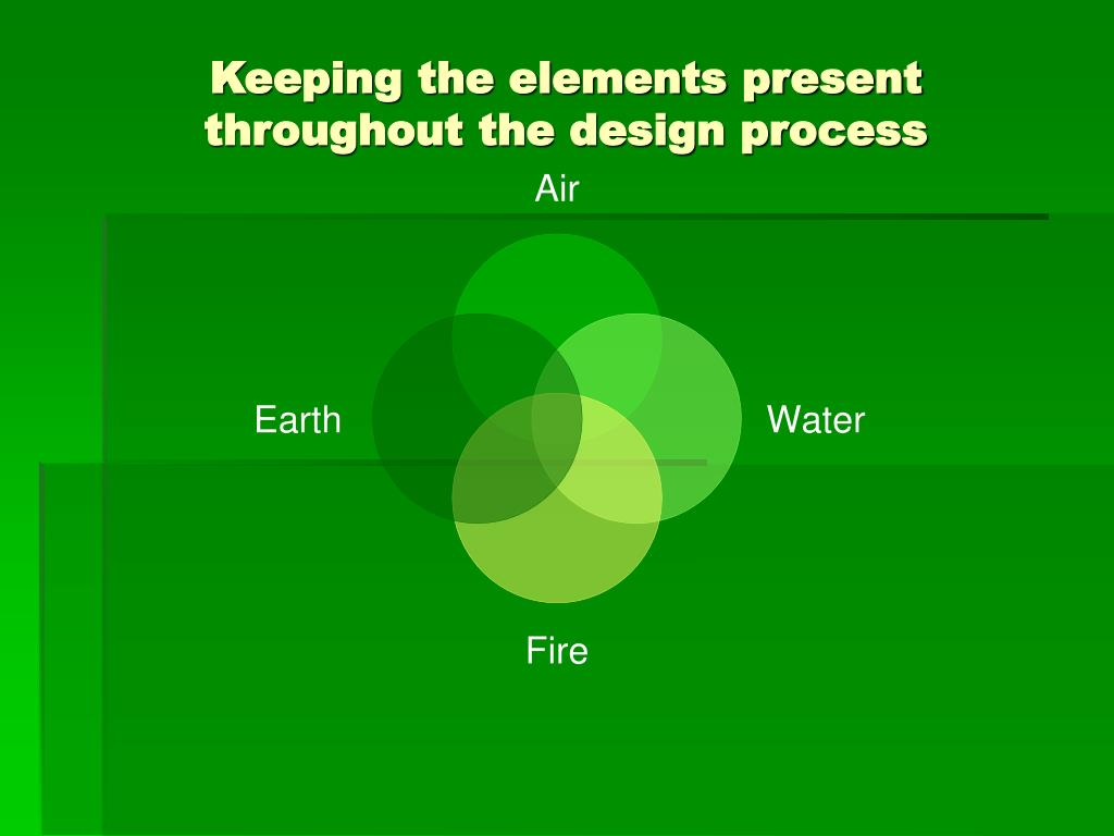 Keeping the elements present throughout the design process